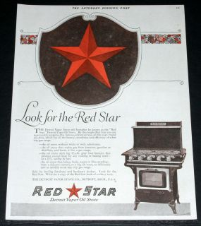 MAGAZINE PRINT AD, DETROIT VAPOR OIL STOVES, LOOK FOR THE RED STAR