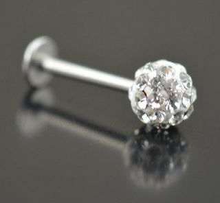 1Pc White Czech Crystal Stainless Steel Lip Labret Ring Stud Bar Body