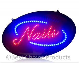 Nails LED Sign Hair Salon Welcome Open Business Window Signage New
