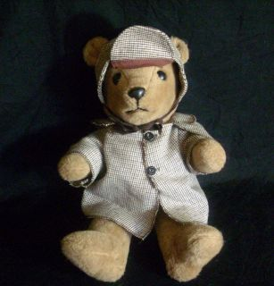 TRUDY TEDDY BEAR BROWN STUFFED ANIMAL PLUSH TOY W HAT & COAT OLD M