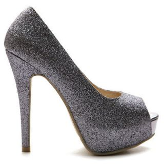 ollio Womens Pumps Open Toe High Heels Platforms Stiletto Glitter
