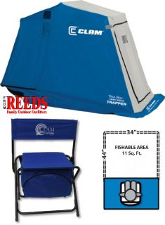 Clam Trapper 1 man Ice Fishing Shelter House with Folding Chair   9022