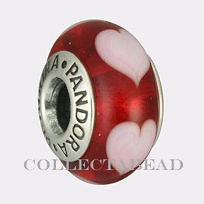 Authentic Pandora Silver Murano Red Pink Hearts Bead