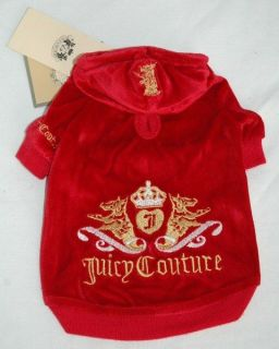 Juicy Couture Red Velour Dog Clothes Hoodie