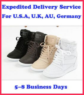 Women High Top Sneakers Tennis Shoes Ankle Boots Black/White/Be​ige