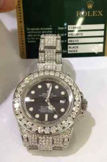 ROLEX DEEP SEA DWELLER FULL DIAMOND WATCH NEW BOX AND PAPERS 30+cts