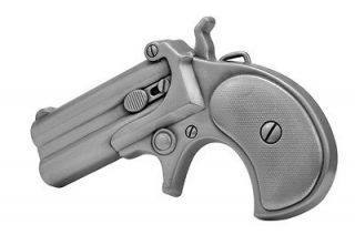 Brushed Metal Derringer Handgun Belt Buckle Pistol Gun Revolver