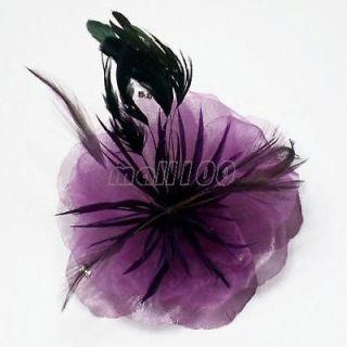 Purple Voile Feather Fascinator Hair Clip Corsage
