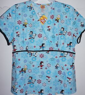 Peanuts Snoopy Medical Scrub Uniform Mock Wrap Top NWT L, XL, 2X,