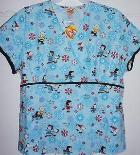 Peanuts Snoopy Medical Scrub Uniform Mock Wrap Top NWT L, XL, 2X,