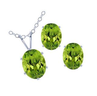 60 Ct Green Peridot .925 Silver Pendant Earrings Set with 18 Silver