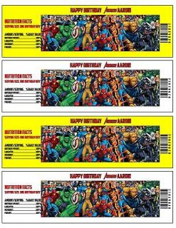 AVENGERS Printable Birthday Party Water Bottle Labels   Digital File