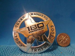 Texas Ranger badge pin back 180th Anniversary TRHFM FREE Shipping in