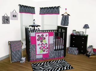 PINK BLACK ZEBRA PRINT LADYBUG FLOWERS BABY GIRL 11 PC CRIB NURSERY