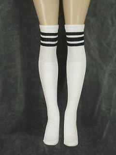"30"" OVER THE KNEE WHITE tube socks with BLACK stripes style 1 (30 9)"
