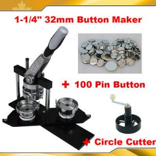 32mm Pro Badge Button Maker+Circle Cutter+100 Pinback Button Parts