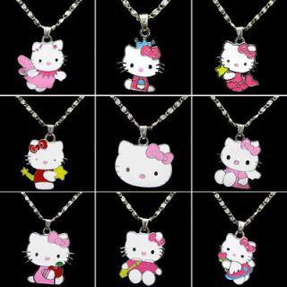 New Bulk 9pcs Lovely Pink HelloKitty Necklace Girl Kids Birthday Party