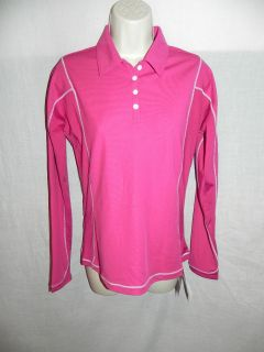 UNDER ARMOUR PINK GOLF LONG SLEEVE POLO SHIRT SMALL HEAT GEAR UPC 30