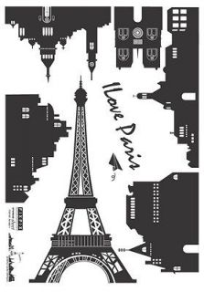 Paris Eiffel Tower Instant Art Decor Removable Wall Sticker Decal