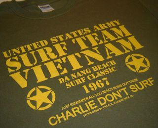 Surf Team Vietnam US Army Nam Charlie War New T shirt