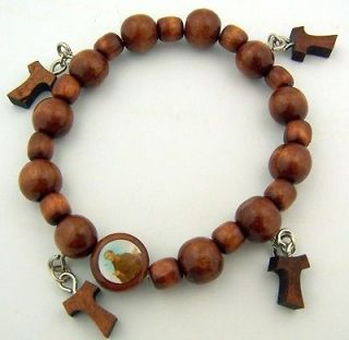 Womens Girls Brown Wood Bead Patron Saint Francis Tau Cross Adjustable