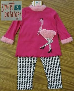 Sweet Potatoes Girls 2pc PINK OSTRICH & HOUNDS TOOTH Outfit 3T NWT