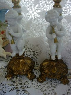 Vtg Boudoir Table Lamps Porcelain Angels Gold Horns Brass Footed Base