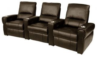 Home Theater Seating 3 Leather Power Seats Brown Chairs Curve Row