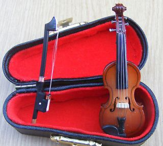 12th Scale Wooden Violin & Black Case Dolls House Miniature Instrument