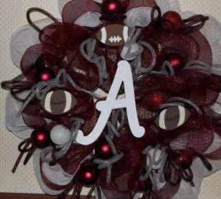 WREATH DECO MESH IN CRIMSON RED & WHITE FOR ALABAMA FANS LARGE 29