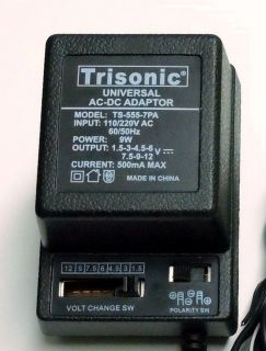 Universal AC/DC Power Adapter Output 1.5 3 4.5 6 7.​5 9 12 V 500 mA