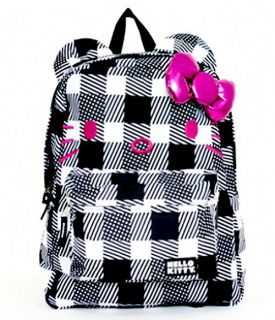 Loungefly ~ HELLO KITTY BLACK AND WHITE CHECKER PRINT BACKPACK  NEW
