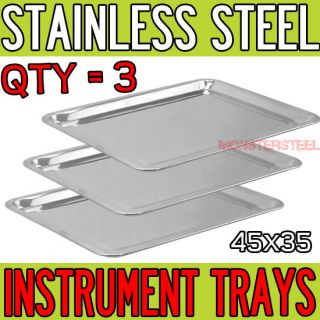 LOT 3 Stainless Steel Tray 17.5 x 13.5 Medical Tattoo Dental Piercing