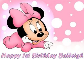 Baby Minnie Mouse Frosting Sheet Edible Cake Topper