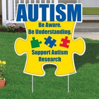 Autism Awareness Puzzle Piece Yard Sign, 21 x 21.5 w/2 EZ stakes