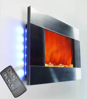 Wall Mounted Electric Fireplace Heater Backlight With Pebbles S 510DPB