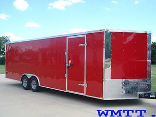 Enclosed Snowmobile Motorcycle Auto Car Hauler Trailer 24 w Ramp in V