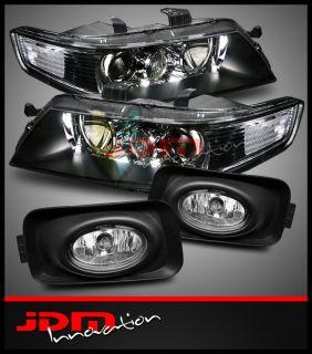 04 05 Acura TSX JDM Style Black Projector Headlights + Clear Fog
