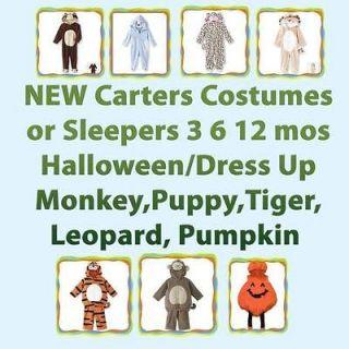 Carters NWT Halloween/Sleeper Costumes; Monkey,Tiger,Leopard,Puppy 3 6