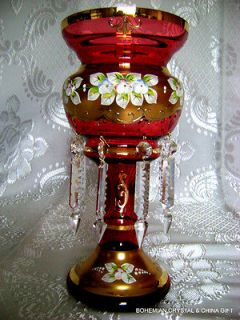 SLAVIA HIGH ENAMEL RUBY RED CRYSTAL GLASS MANTLE LUSTRE VASE NIB