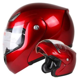 BLUETOOTH READY METALLIC WINE RED MODULAR MOTORCYCLE HELMET DOT Size S