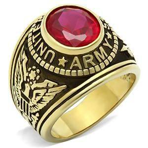 Mens Military Army Red CZ Stone Yellow Gold Plated Ring size 8