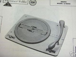 ZENITH S 14094 RECORD CHANGER TURNTABLE PHOTOFACT