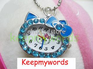 Hello Kitty Blue Crystal Stone Necklace Pendant Pocket Watch & Free