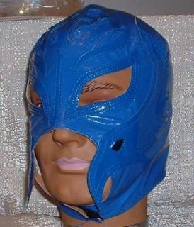 REY MYSTERIO Pro Grade KIDS Solid BLUE Leather MASK