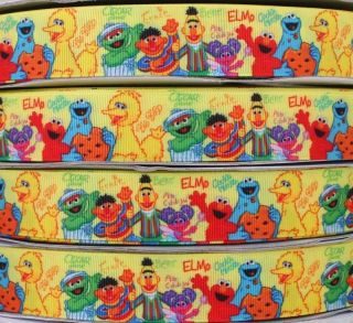 Sesame Street Elmo, Zoe, Oscar&Big Bird Print grosgrain ribbon 5/50