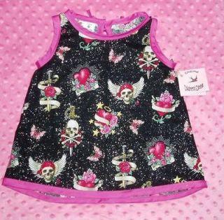 Rockabilly Skull toddler baby girl dress kids clothes