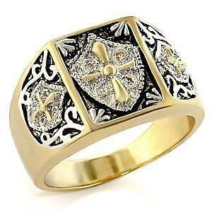 14K Gold/Rhodium Plated Knights Templar Cross & Shield Mens Ring Sz