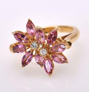 Asprey 18K Yellow Gold Diamond Pink Topaz Daisy Ring
