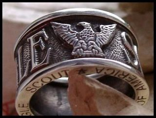US_SIZE_9 EAGLE SCOUT BOY SCOUTS AMERICA RING BAND UNIQUE STEEL SILVER